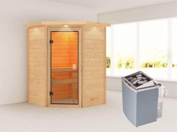 Karibu Sauna Antonia mit 4,5 kW Ofen int. Strg mit Dachkranz 38mm