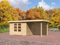 Karibu Gartenhaus Jever 4 mit Fußboden, Dacheindeckung und Anbaudach 2,4 Meter-Rückwand