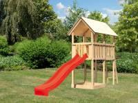 Akubi Spielturm Danny Satteldach + Rutsche rot