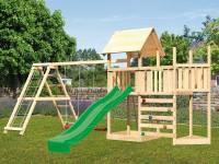Akubi Spielturm Lotti Satteldach + Schiffsanbau oben + Anbauplattform + Doppelschaukel mit Klettergerüst + Kletterwand + Rutsche in grün