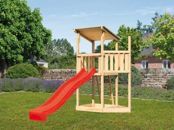 Akubi Spielturm Anna + Rutsche rot + Schiffsanbau oben