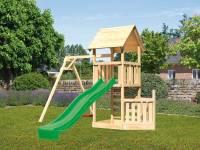 Akubi Spielturm Lotti + Schiffsanbau unten + Einzelschaukel + Rutsche in grün + Kletterwand