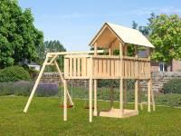 Akubi Spielturm Danny Satteldach + Doppelschaukel + Anbauplattform XL