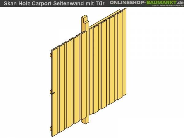 Skan Holz Seitenwand für Carport 141 x 180 cm mit Tür Deckelschalung