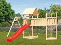 Akubi Spielturm Lotti Satteldach + Schiffsanbau oben + Einzelschaukel + Anbauplattform XL + Rutsche in rot