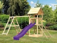 Akubi Spielturm Lotti- Doppelschaukel mit Klettergerüst, Netzrampe und Rutsche in violett