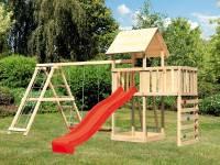 Akubi Spielturm Lotti Satteldach + Rutsche rot + Doppelschaukel Klettergerüst + Anbauplattform + Kletterwand