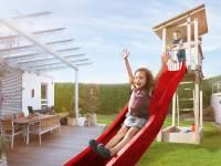 Weka Kinderspielturm Tabaluga mit Flachdach inkl. Wellenrutsche und Sandkasten