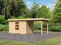 Karibu Woodfeeling Gartenhaus Oburg 4 natur mit Anbaudach 2,4 Meter