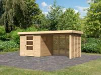 Karibu Woodfeeling Gartenhaus Oburg 2 natur mit Anbaudach 2,8 Meter inkl. Lamellenwände