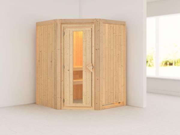 Karibu Sauna Larin ohne Ofen, ohne Dachkranz, mit energiesparender Saunatür