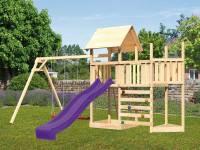 Akubi Spielturm Lotti Satteldach + Schiffsanbau oben + Anbauplattform + Doppelschaukel + Kletterwand + Rutsche in violett
