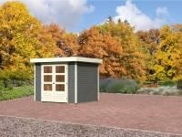 Karibu Aktions Gartenhaus Jever 3 terragrau mit Fußboden und Dacheindeckung