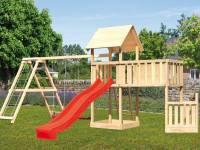 Akubi Spielturm Lotti + Schiffsanbau unten + Anbauplattform XL + Doppelschaukel mit Klettergerüst + Rutsche rot