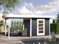 Weka Gartenhaus 172 Größe 2 in anthrazit mit Anbaudach 300 cm