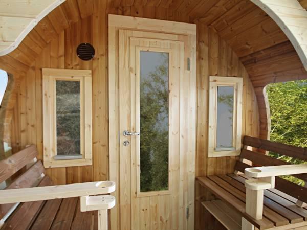 Wolff Finnhaus zwei Einzelfenster (Iso) für Vorderwand Saunafass Finja / Svenja