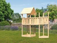 Akubi Spielturm Lotti Satteldach + Schiffsanbau oben + Anbauplattform