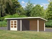Karibu Woodfeeling Gartenhaus Northeim 3 terragrau mit Anbaudach 3,0 Meter inkl. Rückwand