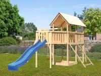 Akubi Spielturm Danny Satteldach + Rutsche blau + Einzelschaukel + Anbauplattform XL + Netzrampe