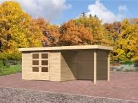 Karibu Gartenhaus Jever 4 mit Anbaudach 2,4 Meter-Rückwand