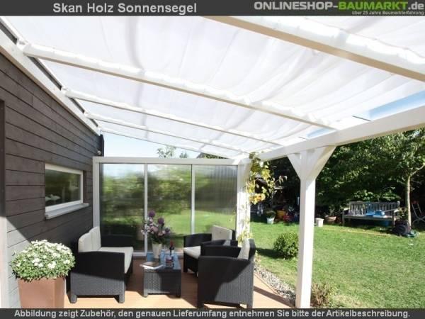 Skan Holz Sonnensegel 4 Stück für Tiefe 300 cm, weiß