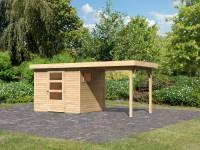 Karibu Woodfeeling Gartenhaus Oburg 3 natur mit Anbaudach 2,4 Meter