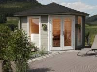 Wolff Finnhaus 5-Eckhaus Katrin 44-A, Set inkl. roten Dachschindeln und Dachhaube