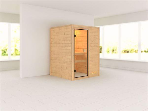 Nadja - Karibu Sauna Plug & Play ohne Ofen - ohne Dachkranz -