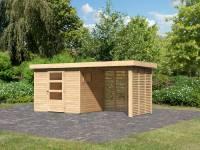 Karibu Woodfeeling Gartenhaus Oburg 3 natur mit Anbaudach 2,4 Meter inkl. Lamellenwände