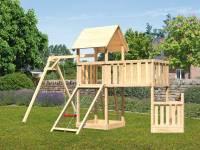 Akubi Spielturm Lotti + Schiffsanbau unten + Anbauplattform XL + Einzelschaukel + Netzrampe