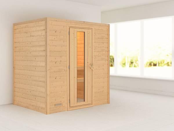 Karibu Sauna Sonja 38 mm ohne Dachkranz- ohne Ofen- energiesparende Tür
