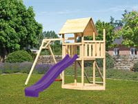 Akubi Spielturm Lotti Satteldach + Schiffsanbau oben + Einzelschaukel + Netzrampe + Rutsche in violett