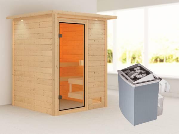 Karibu Sauna Sandra mit 4,5 kW Ofen integr. Strg und Dachkranz 38 mm
