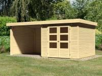 Karibu Woodfeeling Gartenhaus Askola 3,5 mit Anbaudach 2,75 Meter, Seiten- und Rückwand