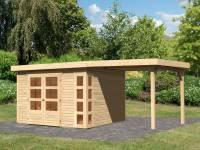 Karibu Woodfeeling Gartenhaus Kerko 6 mit 2,40 m Anbaudach, 19 mm, natur
