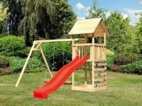 Akubi Spielturm Lotti mit Doppelschaukel, Kletterwand und Rutsche rot