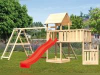Akubi Spielturm Lotti + Schiffsanbau unten + Anbauplattform XL + Doppelschaukel mit Klettergerüst + Netzrampe + Rutsche rot