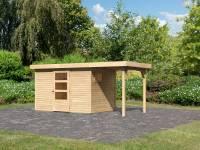 Karibu Woodfeeling Gartenhaus Oburg 4 natur mit Anbaudach 1,5 Meter