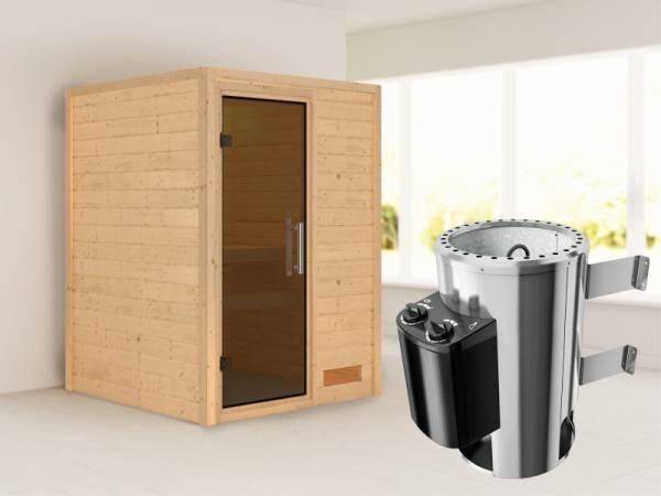 Nadja - Karibu Sauna Plug & Play 3,6 kW Ofen, int. Steuerung - ohne Dachkranz - Moderne Saunatür
