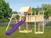 Akubi Spielturm Lotti Satteldach + Schiffsanbau oben + Anbauplattform + Einzelschaukel + Rutsche in violett