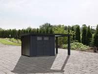 Wolff Finnhaus Metallhaus Eleganto 3024 Granitgrau inkl. 170 cm Seitendach rechts, Dachrinne und Fallrohr