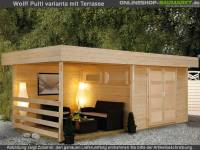 Wolff Pultdachhaus Varianta B mit SD/Rückwand/Terrassenfußboden 250 cm