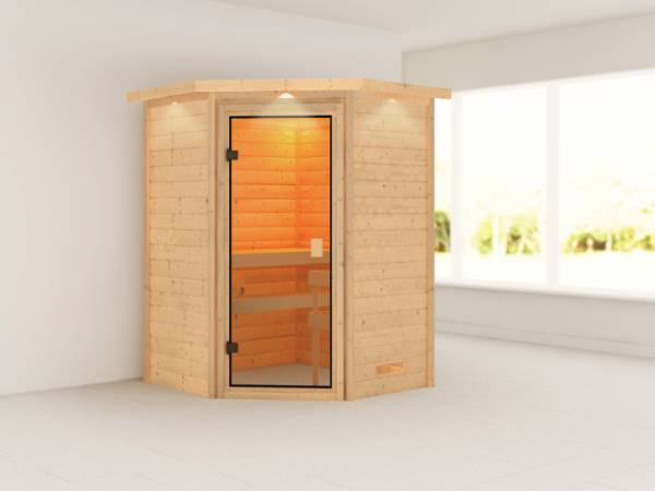 Alicja - Karibu Sauna Plug & Play ohne Ofen - mit Dachkranz -