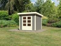 Karibu Woodfeeling Gartenhaus Kandern 3 in terragrau 28 mm