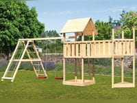 Akubi Spielturm Lotti Satteldach + Schiffsanbau oben + Doppelschaukel mit Klettergerüst + Anbauplattform XL