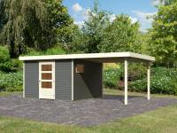 Karibu Woodfeeling Gartenhaus Oburg 6 terragrau mit Anbaudach 2,8 Meter