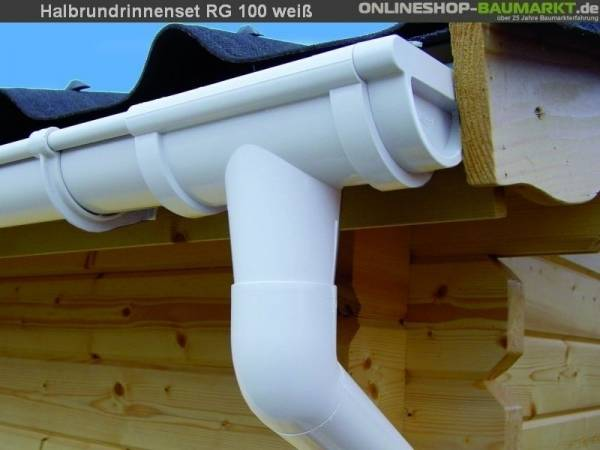 Dachrinnen Set RG 100 weiß 8x200 cm 8-Eck-Pavillon