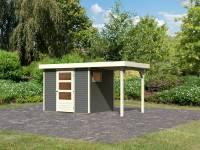 Karibu Woodfeeling Gartenhaus Oburg 3 terragrau mit Anbaudach 1,5 Meter