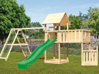 Akubi Spielturm Lotti + Schiffsanbau unten + Anbauplattform XL + Doppelschaukel mit Klettergerüst + Rutsche grün