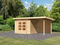 Karibu Woodfeeling Gartenhaus Kandern 6 mit Anbaudach 2,6 Meter inkl. Rückwand